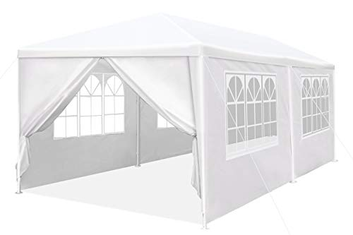 Peaktop Outdoor 10'x20' Heavy Duty Canopy Gazebo Outdoor Party Wedding Tent Pavilion with 4 Removable Side Walls