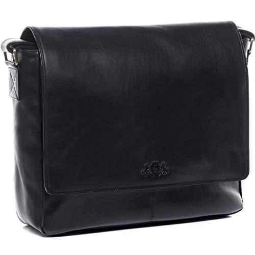 SID und VAIN Messenger Bag echt Leder Laptoptasche Spencer groß Businesstasche Umhängetasche Laptopfach 15.6
