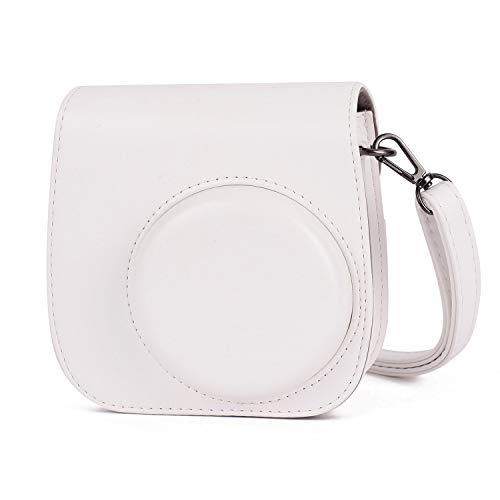 Leebotree Sofortbildkameras Tasche Kompatibel mit Instax Mini 11 Sofortbildkamera aus Weichem Kunstleder mit Schulterriemen & Tasche (Weiß)