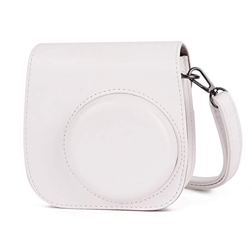 Leebotree Sofortbildkameras Tasche Kompatibel mit Instax Mini 11 Sofortbildkamera aus Weichem Kunstleder mit Schulterriemen und Tasche (Weiß)