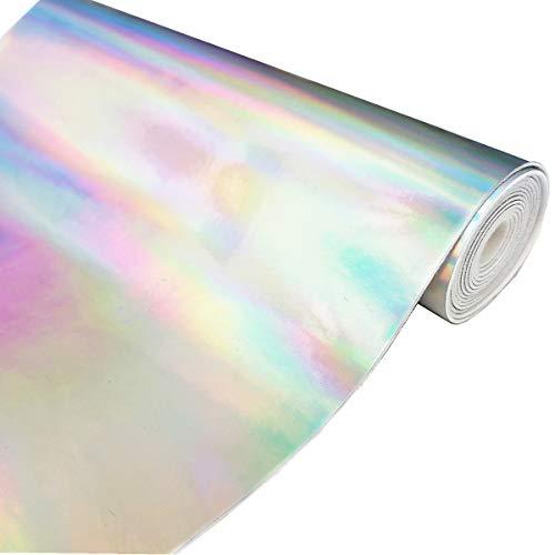 zaione 10 Color 8'x 53 cm (21 cm x 135 cm), diseño holograma efecto espejo vinilo tejido metálico holográfico sintética piel sintética lazos para zapatos bolsa de costura DIY lazo Craft (plata)