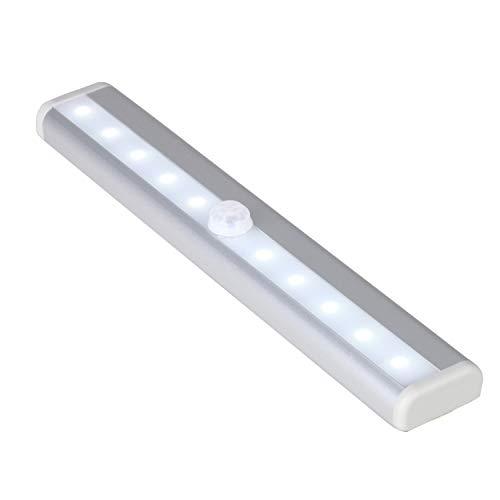 10 LED PIR Bewegungsmelder Für drinnen Licht - 10 Fuß Radius Sensor mit Energiesparende weiß Balken - Band Zurück Befestigt für ein einfache Montage - Runs on 4 AAA-Batterien - Weiß, Pack of 1