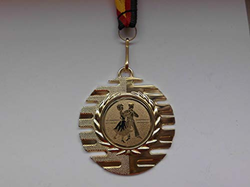 Fanshop Lünen 10 Stück Medaillen - mit Alu Emblem Tanzen - aus Metall 50mm / Gold - inkl. Medaillen Band - Medaille - (e237) -