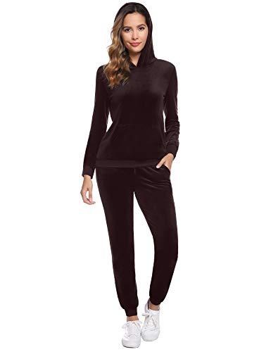 Abollria Damen Nicki Hausanzug Velours 2 Teilliger Fleece Anzüge Samtweich Winter Pyjama Set Hoodie Oberteil + Hose mit Tache,Kaffee,L