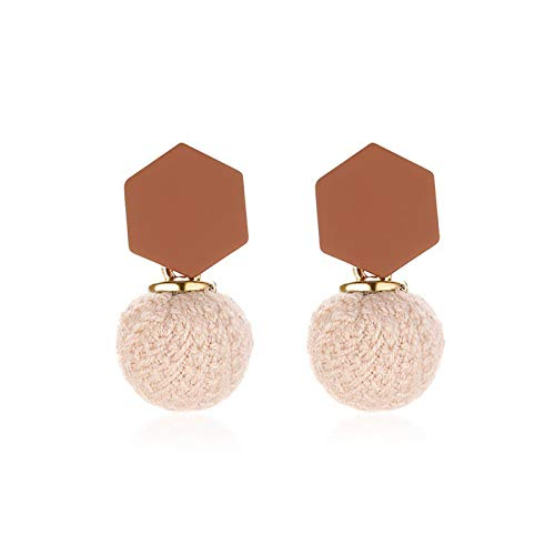 Ruby569y Dangle Earrings for Women Girls,Women Fashion Woolen Yarn Round Shape Ear Stud Earrings Jewelry Accessory Gift - 2