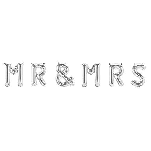 ballonfritz® Luftballon MR & MRS Schriftzug-Set in Silber - Folienballons als Hochzeit Geschenk, Party Dekoration oder Überraschung
