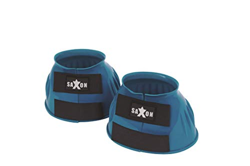 Saxon. Double Tape PVC Ribbed Bell Boots Turquoise Warmblood
