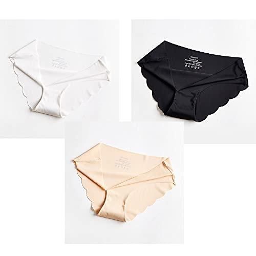 HAIBI Damen Unterhosen Panties 3Er Pack Höschen Sexy Damen Höschen Tanga Weibliche Dessous Baumwoll Slips Unterhosen Weibliche Nahtlose Slips, Weiß Schwarz Beige, M.