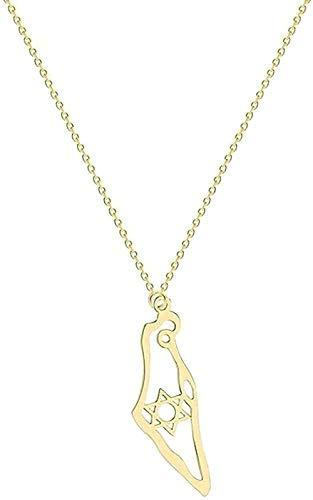 LDKAIMLLN Co.,ltd Collar Mujer Hombre Colgante Acero Inoxidable Tarjeta de Israel Colgante Collar Color Oro Joyería Tarjeta judía Israel Collares con Estrellas Collares