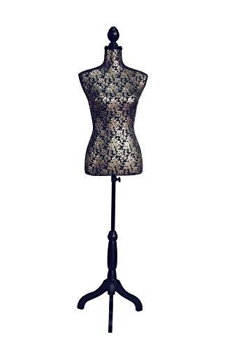 Clarie Glamour Cuerpo del Bustos y Tres Patas, Algodón, Negro, 83x37.5x24 cm