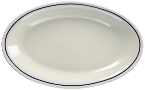 サタルニア ローマ ブルーライン オーバルプレート 27 8003342006787 白 270×32×170mm