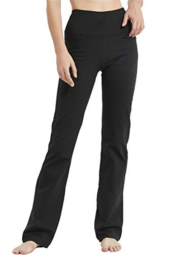"Jimilaka 28"" 30"" 32"" 34"" Inseam Women's Bootcut Yoga Pants High Waist Bootleg Flare Pants with Pockets (Grey, XX-Large)"