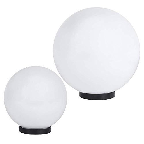 Kugelleuchten 2er Set | Terrassenbeleuchtung weiß | Kugellampen Ø 20 und 30 cm | Gartenlampe + Bodenplatte | Dekoleuchten Außen | Terrassenlampen mit Porzellanfassung