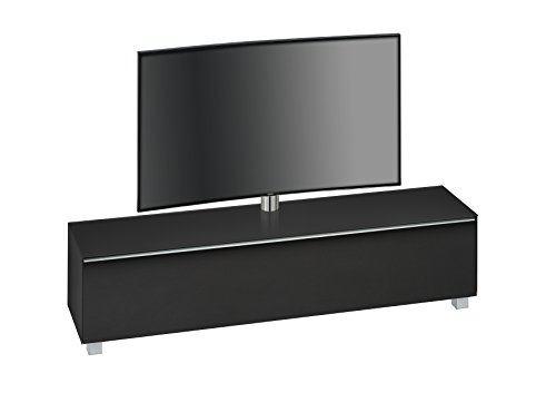 TV-Board Soundboard Maja Inkl. TV Halterung Soundconcept Korpus Schwarzglas matt/Akustikstoff schwarz 180x43x42cm