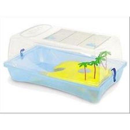 Tartarughiera con coperchio rimovibile e isola gioco con palme 58x31xH31 cm Kleo Box