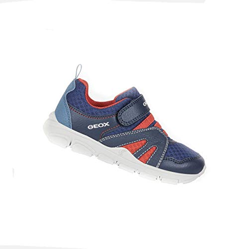 Geox Junior New Torque - Zapatillas deportivas para niño, color azul marino y rojo Size: 35 EU