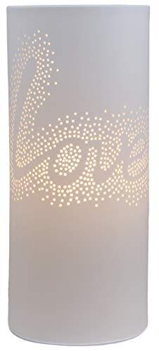 "Plaristo"" Love Porzellanlampe, Keramik, Weiß"