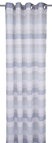 TOM TAILOR T-Simple Stripes Ösenschal, Polyester, weiß/blau, 245 cm x 140 cm