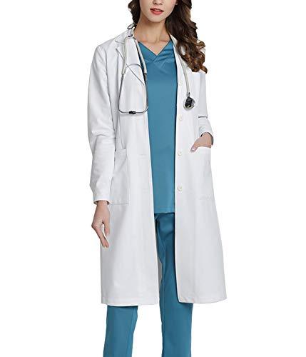 WWOO Camice da Laboratorio Donna Bianco Abbigliamento da Lavoro e Divise Camice Donna Aggiornamento del Tessuto Sottile L