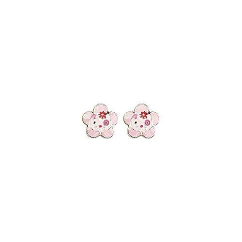 robbez Masson–Orecchini bambini–9K8549V–Oro 9K giallo e bianco fiori rose–Hello Kitty