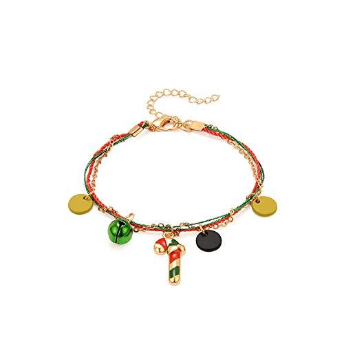 Hniunew Weihnachten Damen Armband Armkette Cartoon Weihnachtsbaum Armbänder Schmuck Einschichtiges Armband Anhänger Bracelet Geburtstag Geschenk Zubehör Karneval Partyartikel Geschenk