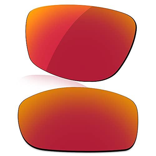 LenzReborn Reemplazo de lente polarizada para Arnette Rage XL AN4077 Sunglass - Más opciones, Rojo Fuego - Espejo polarizado, Talla única