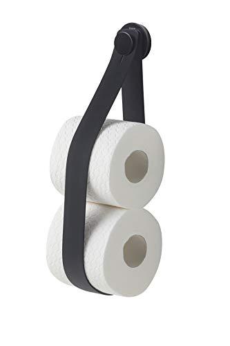 Tiger Urban Reserverollenhalter zur Wandbefestigung, praktischer & trendiger Toilettenpapierhalter, Farbe: Schwarz, mit austauschbaren Dekor-Ringen zur individuellen Gestaltung