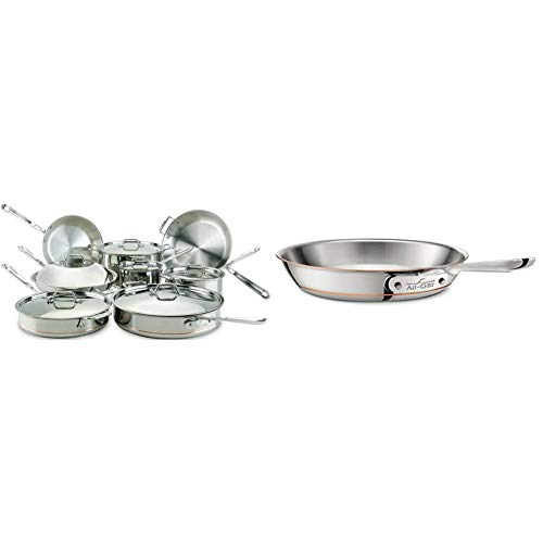 All-Clad 60090 Copper Core 5-Ply Bonded Dishwasher Safe Cookware Set, 14-Piece, Silver & 6108SS Copper Core 5-Ply Bonded Dishwasher Safe Fry Pan/Cookware, 8-Inch, Silver