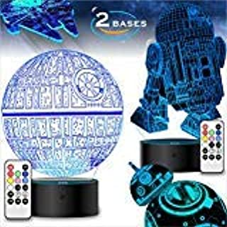 2 Bases 4 Patterns Star Wars Gifts 3D Illusion Lamp - Star Wars Toys LED Night Light for Kids Room Decor, 7 Color Change w...