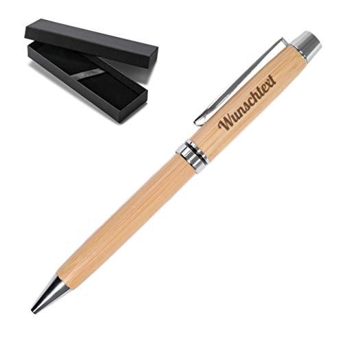 Personalisierter Edler Holz Kugelschreiber Stift mit Name Gravur | Geschenk für Geburtstag, Abschied, Weihnachten | nachhaltig | Bambus, Weizenstroh | schwarzschreibend