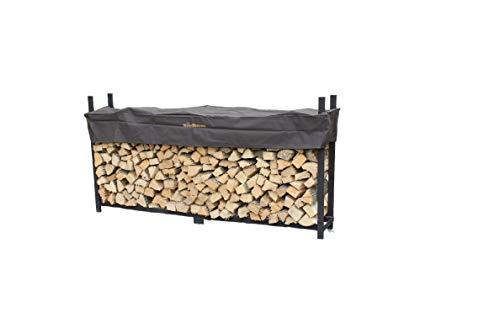 New Woodhaven 8 Foot Brown Firewood Log Rack with Cover