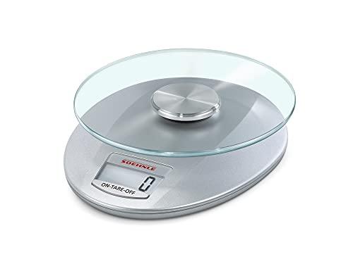 Soehnle Digitale Küchenwaage Roma mit 5 Kilo Tragkraft und 1-g-Wiegepräzision, Waage mit praktischer Zuwiegefunktion (TARA), elegante Waage für die Küche mit LCD-Anzeige und Abschaltautomatik, silber
