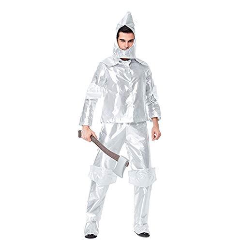 HOOLAZA Männer Silber Rollenspiel The Tin Man Costume der Wunderbare Zauberer von Oz 4 Stück Cosplay Kostüm Set