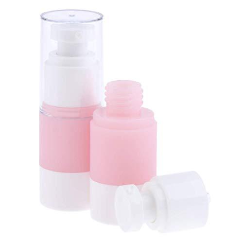 Bonheur 2PCS Vider Plastique Airless cosmétiques Maquillage Eau Parfum Vaporisateurs Rose - Rose + Blanc, 15ml (Size : 30ml)