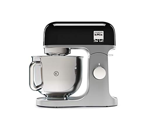 Kenwood kMix KMX750BK Küchenmaschine, 5 l Edelstahl Schüssel, Safe-Use-Sicherheitssystem, Metallgehäuse, 1000 Watt, inkl. 3-Teiligem Patisserie-Set und Spritzschutz, schwarz
