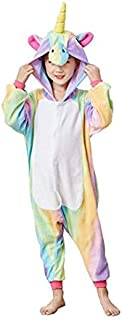 Girls One-Piece Kids Gold Horn Unicorn Pajamas Cartoon Animal Pink Licorne Onesie Sleepers Boy Costume Jumpsuit (130-140)