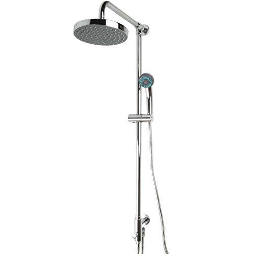 PaulGurkes Regendusche Aufputz Set Brausegarnitur Duschsystem Nachrüsten Kopfbrause Aufputzmontage OHNE Armatur rund Komfortdusche Duschstange mit Kopfbrause und Handbrause Duschsystem mit Regendusche