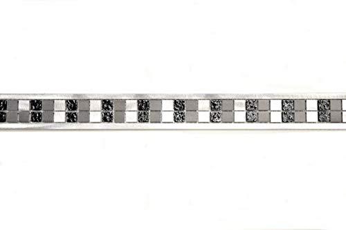 Aluminium Transluzent silber schwarz Bordüre Alu Glasmosaik Crystal black MOSBor-OBA-0202