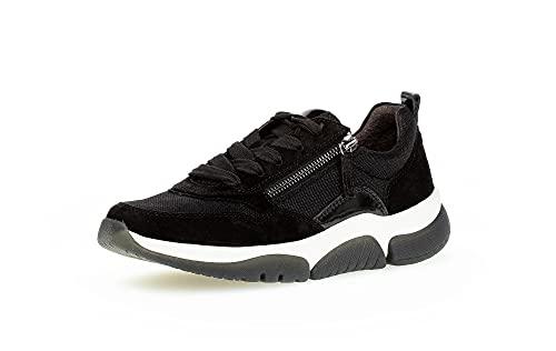 Gabor Damen Low-Top Sneaker, Frauen Halbschuhe,Wechselfußbett,Lady,Ladies,Halbschuhe,straßenschuhe,Strassenschuhe,Turnschuhe,schwarz,40 EU / 6.5 UK