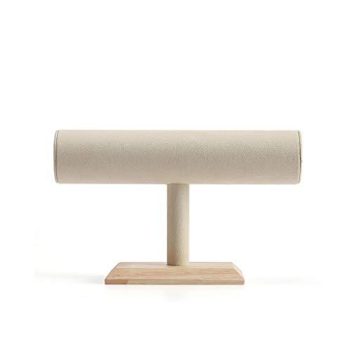 LXX Cajas de joyería de terciopelo, barra en T con soporte de joyería de madera, base de exhibición, pulsera, soporte organizador de joyas, cofres de joyería (color : B)