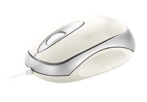 Trust Centa Mini - Ratón óptico, cableado con 3 botones, color plata y blanco