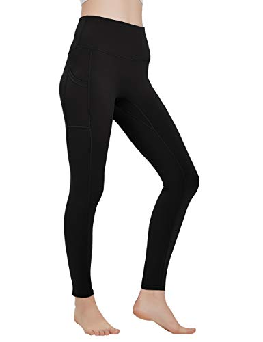 High Waisted Workout Yoga Pants Athletic Running Tummy Control Leggings with Pockets for Women Black-L