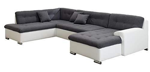 ARBD Wohnlandschaft, Couchgarnitur U-Form, Rocky mit Schlaffunktion 325 x205cm weiß/grau, Ottomane Links