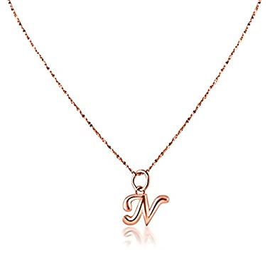 PearlsNSilver Personalized Dainty Initial Necklace 14K Rose Gold Over Sterling Silver (N 16 )