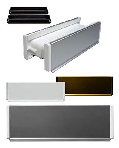 Aluminium-Briefeinwurf-m.Schacht-Nr.1-270 x 80 mm-Briefkasten-Briefschlitz-Briefklappe (270 x 78 mm, Alu. weiß Einbrennlackiert)