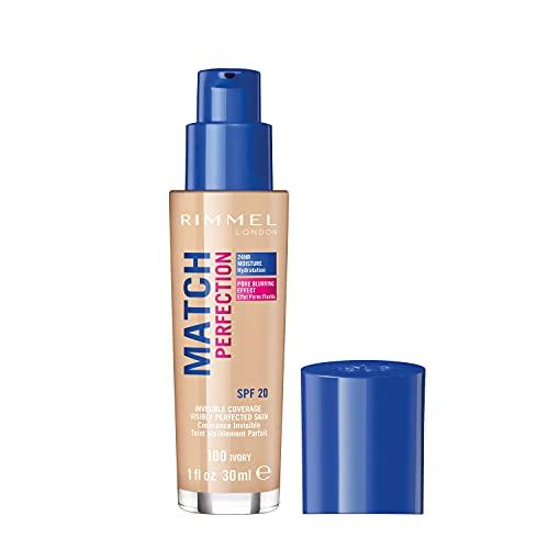 Rimmel London Match Perfection Foundation Base de Maquillaje Tono 100 Ivory - 30 ml