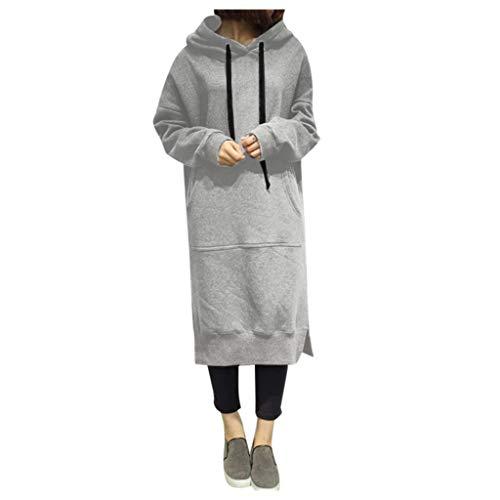 GOKOMO Frauen Winter Warm Hoodie Baggy Pullover Damen schwarz lang Oversize Sweatshirt Langes...