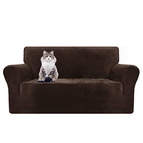 MAXIJIN Funda para sofá de 2 plazas, de terciopelo grueso, súper elástica para salón, perros, gatos, mascotas, peluche. Funda para asiento de sofá (2 plazas, café oscuro)