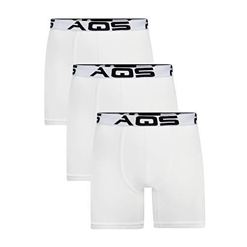 aqs Men's Boxer Briefs - 3 Pack (XL) White