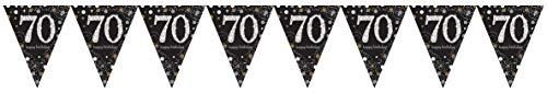 Amscan 120357 Sparkling Celebration Wimpelketting, 70 jaar, zwart, goud, wit